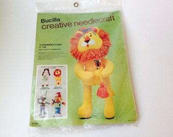 Vintage Bucilla Creative Needlecraft Cowardly Lion Kit/Bucilla Kit/Cowardly Lion Doll/Vintage Wizard of Oz