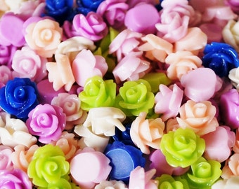 50 Spring Mix Rose Cabochons 10mm