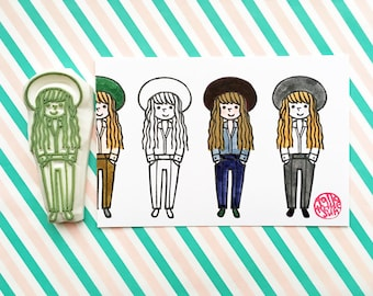 girl rubber stamp | girl with hat | people stamp | fashionista stamp | diy | street fashion no10 | hand carved by talktothesun