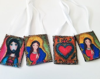 Our Lady of Untier of Knots - Sacred Jesus  - Set of 2 Scapulars -   Handmade - Original Art by FLOR LARIOS