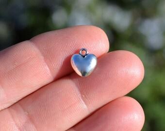 10  Puffed Heart 12mm Silver Tone Charms SC2073