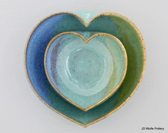 2 nesting heart bowls - 3 1/2 inches wide - pottery handmade