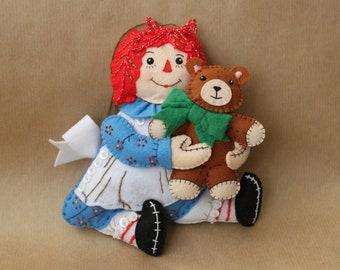 Raggedy Ann felt ornament, Felt doll with Teddy Bear