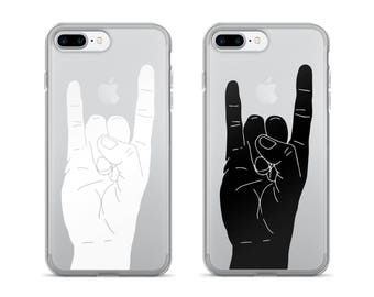 Rock On | iPhone Case | Cool Phone Case | Clear iPhone Case | Minimalist | Rocker | Gift for Musicians | iPhone 7 | Black | iPhone 6 Plus