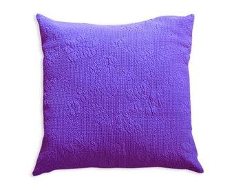 Violet cushion cover, 17 x 17 in., cotton cushion cover, Bohemian cushion, accent cushion, decorative pillow
