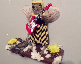 "Taxidermy ""Rock Star Wanna-BEE"" grey squirrel with green eyes novelty... re-purposed painted wood shelf/new mount..tanned/solid form"