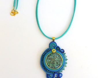 Abalone Teal Pendant, Soutache Pendant, Teal, Turquoise, Blue, Soutache Necklace, Multi color, Soutache, Asymmetrical, Swarovski, Statement