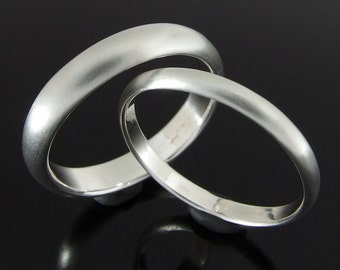 Half Round Sterling Silver Wedding Ring Set, Silver Wedding Band Set, 4 x 2 mm and 2.4 x 1.2 mm, Satin Finish