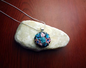 Blue, Pink, and Silver Floral Applique  Polymer Clay Pendant on 18' 925 Silver Chain