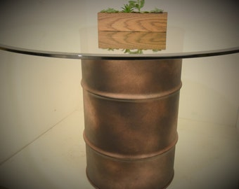 Copper and Black OIL DRUM Industrial Dining Table with Glass Top #192
