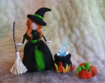 Needle Felted Witch with Bubbling Cauldron, Broom & Pumpkin, Waldorf Inspired, Halloween Decor