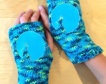 MOON & WOLF Arm warmers / Fingerless gloves / Wrist warmers Embroidered handmade Duran Duran