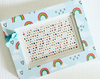 4x6 Picture Frame with rainbows- blue accents