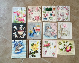 Vintage Greeting Cards Assorted Ephimera 50s Scrapbooking Crafts