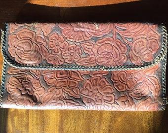 Vintage Leather Hand Made Floral Clutch Handbag