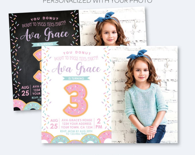 Donut Birthday Invitation with Photo, ANY AGE, Sprinkles Birthday Party, Birthday Girl Invite, Personalized Invitation, 2 options