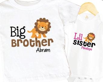 Big Brother Lion Shirt SET Little Sister Animal Sibling Personalized Big Sister Big Brother Shirts bodysuit SET