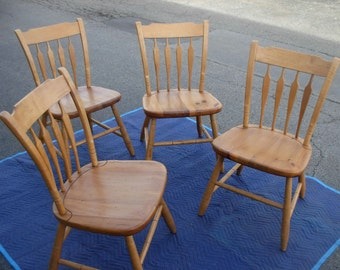 Rare Ethan Allen Dining Chairs-Farmhouse Pine Collection-Style 23-6001-Set of 4