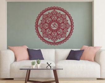 Flower Stickers Mehndi : Mandala decals mehndi vinyl sticker bedroom wall decal lotus