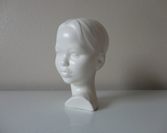 VINTAGE white ceramic GIRL woman BUST figurine