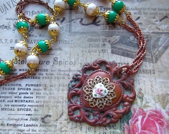 Oven Patina Brass Heart, Guilloche Heart, Vintage Bead Chain Pendant Necklace