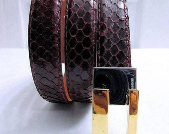 Vintage Jana for Magid Dark Burgundy Genuine Snake Skin Skinny Belt Size Large