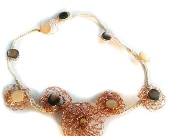 Crochet copper Flower necklace