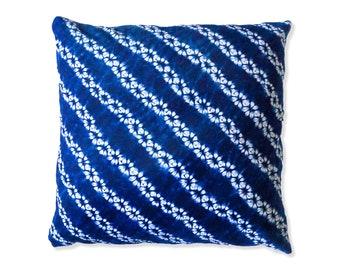 Shibori Pillow Cover - Indigo Pillow - Boho - Tye Die Pillow - Decorative Pillow - Shibori Cushion - Hand Dyed - Throw Pillow