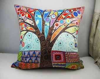 Velvet fabric  throw pillow cases cushion covers / Abstract coloured tree/original by Karla Gerard