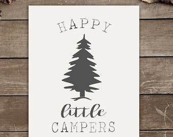Happy Little Campers, Rustic Decor, Playroom, Camping, Wall Print