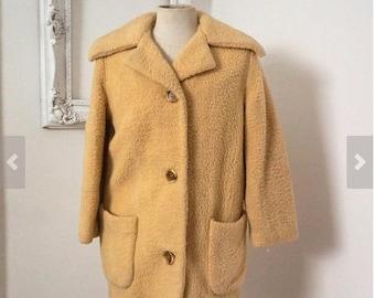 Vintage Cream Faux Fur Winter White Stag Jacket Women Sz S