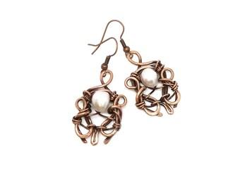 Clothing gift Copper wire wrapped pearl earrings Girlfriend jewelry Delicate leaves earring for women Statement earring Rustic boho earrings