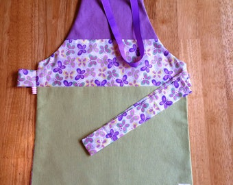 Apron 3-5 years/model soft Butterfly - Butterfly-green-purple - for the MOM to the doll