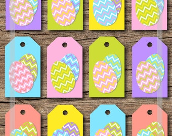 Printable easter gift tags pastel color gingham and easter printable easter gift tags with cute chevron easter eggs in easter pastel colors jpg instant negle Choice Image