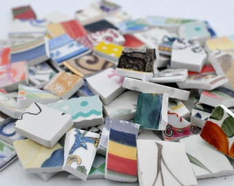 150 - Broken Plate Tiles - Colorful Mix - Mosaic Tiles - Assortment