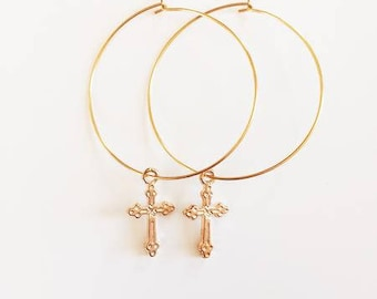 Gold Plated Cross Earrings Small and Medium