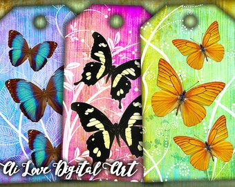 Gift tags printable instant download, Butterfly digital collage sheet, digital graphics downloadable images, hang tags, paper craft supplies