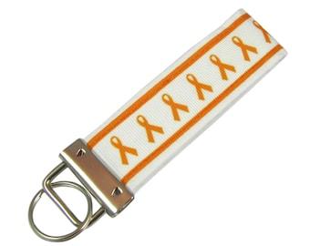 Personalized Fabric Key Chain / Key Fob Orange Ribbon Awareness Lukemia With Optional Initials