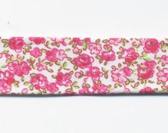 1.30 metres of bias fantasy flowers Liberty style pink