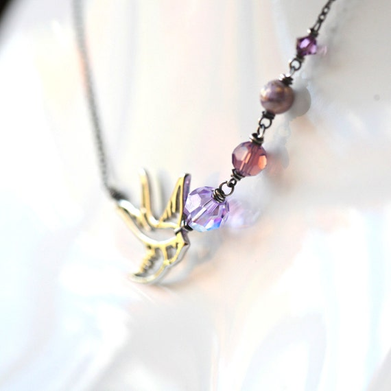 Lavender Swallow - Amethyst Crystal and Bird Charm Sterling Silver Necklace