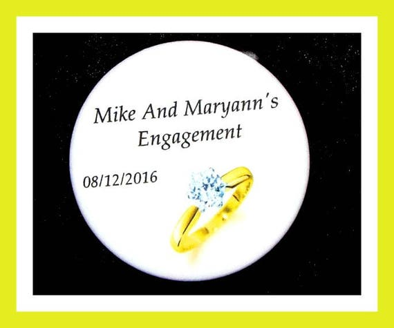"""Engagement Favors,Wedding Ring Party Favors,Bridal Shower Favors,Anniversary Favors, Bride To Be Favors,Button Pin  2.25""""  Set of 10"""