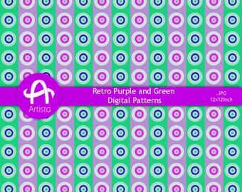 Retro Digital Patterns Circles Download Digi Purple Green Pattern Downloads