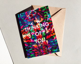 Thinking of You Card - Blank Card - Sympathies - Illustrated Greeting Card - Illustration- Words - Type