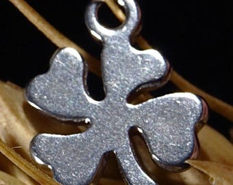 6 charms pendant clover steel stainless 11x7mm