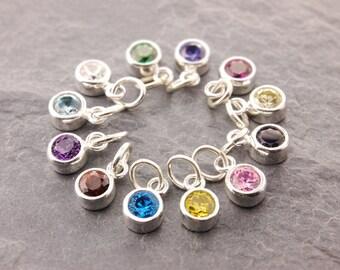 Add On Charm, birthstone charm, add on birthstone, bracelet charm, add birthstone, add charm, bezel charm, add on stone charm, AD