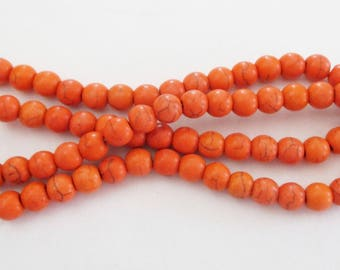 "Orange Howlite Smooth Beads - Orange Turquoise Round Ball - Natural Gemstone Beads - Center Drilled - 6mm - 16"" Strand - DIY Summer Jewelry"