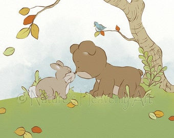 11 x 14 Cute Childrens Art, Boys or Girls Nursery Print, Teddy Bear Art for Kids Room Decor, Nursery Wall Decor, Babys Wall Art  (235)