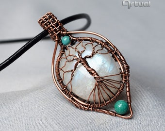 Wire wrapped jewelry, tree of life, handmade pendant, moonstone, turquoise, copper necklace, boho treeoflife, gift for women, wire jewellery