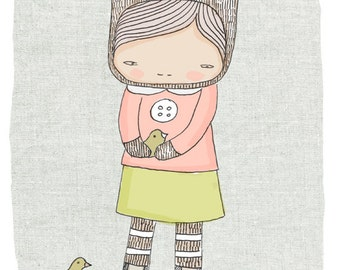 kids modern wall art - Elka and the birds (Art Print A4)