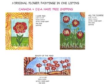 3 ORIGINAL MINI FLORAL flower landscape paintings